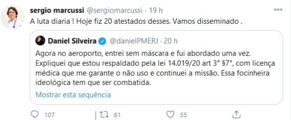 Médico respondeu a publicação do deputado Daniel Silveira (PSL-RJ)