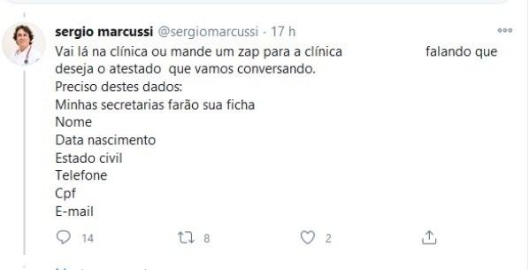 Médico oferece atestado para usuários por meio do Twitter