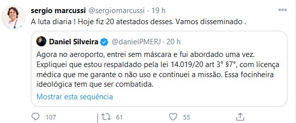 """""""Luta diária"""": médico respondeu a postagem do deputado Daniel Silveira"""