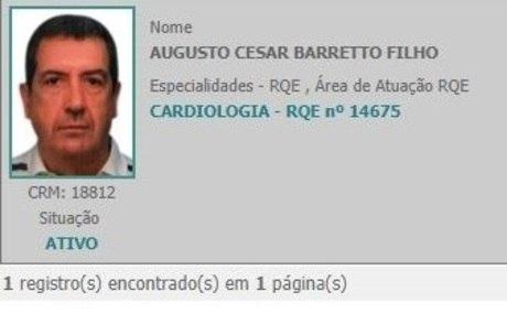 Augusto havia cancelado registro no Cremesp em 2018