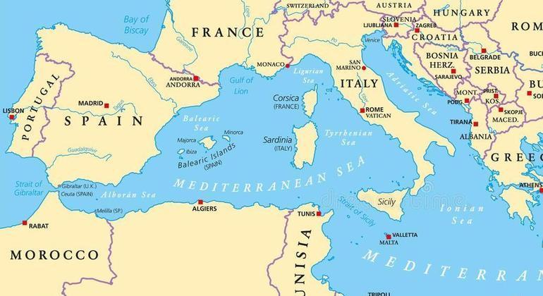 A localização de Espanha e França, no Mediterrâneo