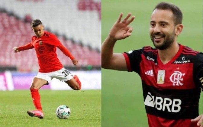 Meia reserva: Pedrinho (atualmente no Benfica) x Everton Ribeiro (atualmente no Flamengo)