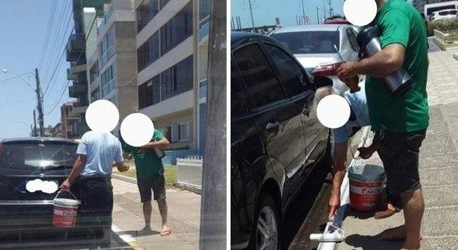 Dupla retirou a lata de tinta branca do próprio carro antes de pintar o meio-fio