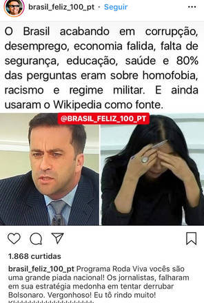 A entrevista de Bolsonaro no Roda Viva da última segunda (30) dividiu muito o público que a assistiu. Assim também aconteceu com os memes do programa. Neste, a critica vai aos jornalistas e suas perguntas.