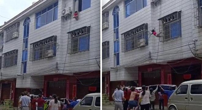 Vizinhos salvaram menina de queda mortal com auxílio de edredom
