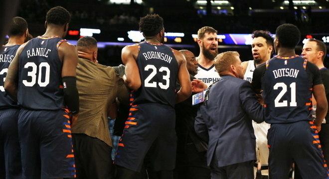Confusão no jogo entre Menphis e New York Knicks na NBA