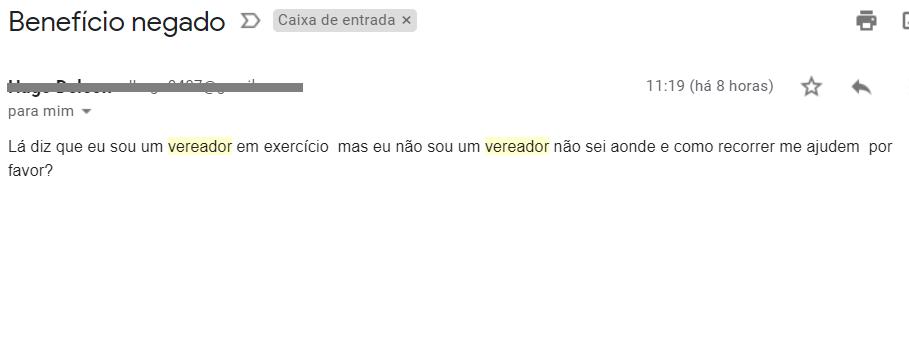 Mensagem de leitor recebida no e-mail