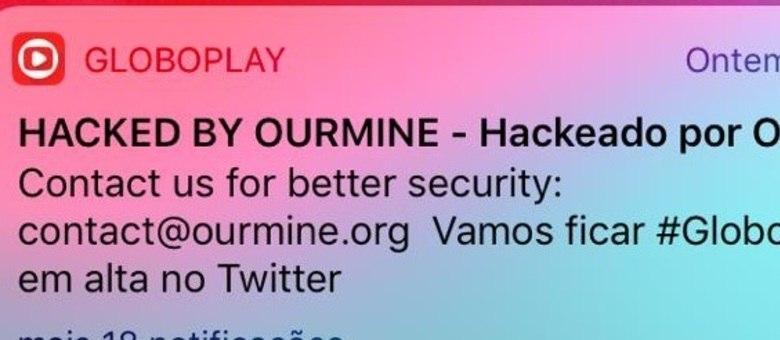 Mensagem dos hackers no telefone das vítimas