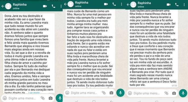 Mensagens foram recebidas pela mãe da vítima durante o velório