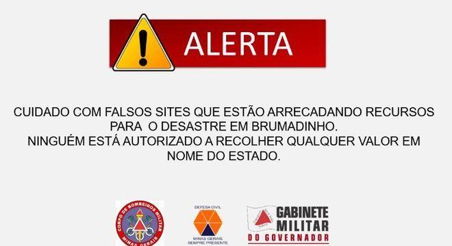 Mensagem de alerta para arrecadações falas feita pelo Governo de Minas