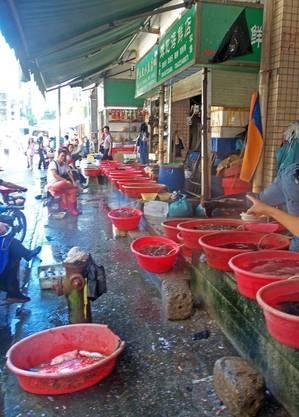 Mercado molhado na cidade chinesa de Shenzhen