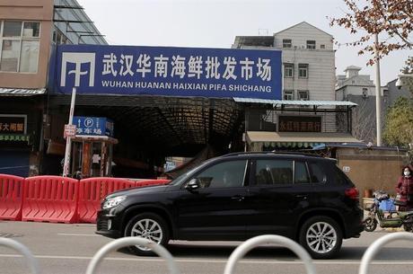 Mercado de frutos do mar e animais vivos em Wuhan