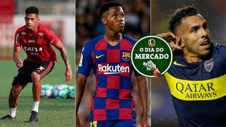 Mesmo com a pandemia por conta do coronavírus, o mercado da bola não para. Este sábado tem a provável saída de um zagueiro do Flamengo, mudanças para Ansu Fati no Barcelona e o futuro de Tévez. Veja as negociações!