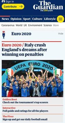 """Mesmo sendo britânico, o """"The Guardian"""" destacou a vitória italiana e """"o fim do sonho"""" inglês."""