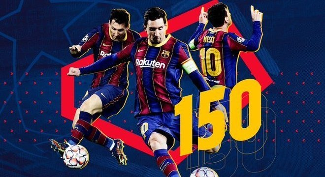 Lionel Messi, vitória e gol na partida de número 150 na UEFA