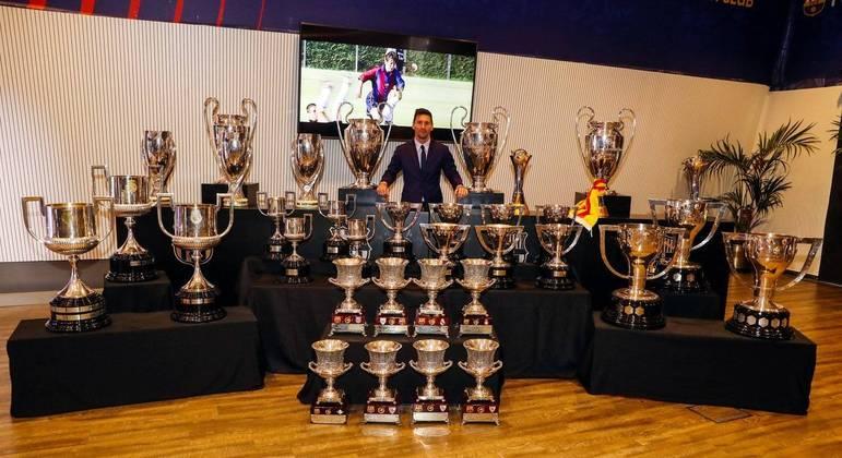Messi e os 35 troféus que ganhou com o Barcelona. O melhor jogador do mundo