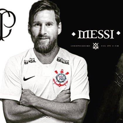 Messi com a camisa do Corinthians