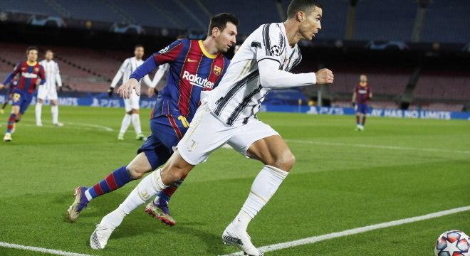 Messi e Cristiano Ronaldo se enfrentaram pela Champions League