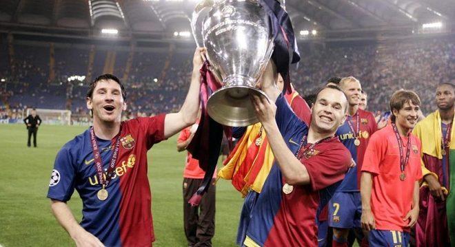 Messi e Iniesta, no Barcelona campeão da LC em 2009
