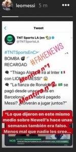 Publicação de Lionel Messi nos 'stories' do Instagram