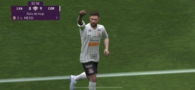 Messi marcando gol pelo Corinthians (no videogame)