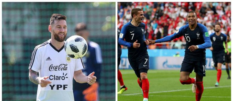 Argentina, de Messi, usará a empolgação para tentar superar França, de Griezmann e Mbappé