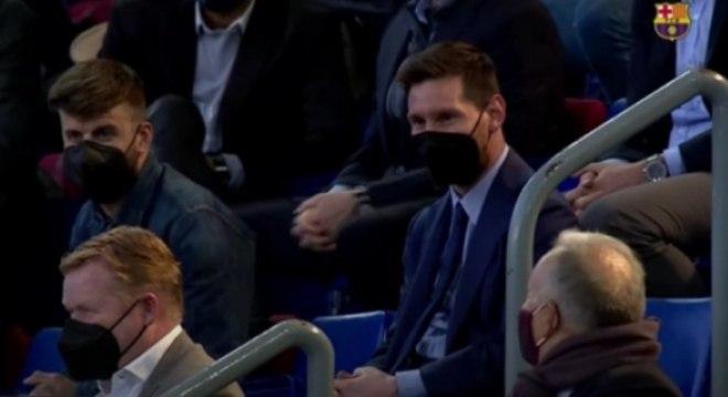 Messi na apresentação de Joan Laporta, novo presidente do Barcelona