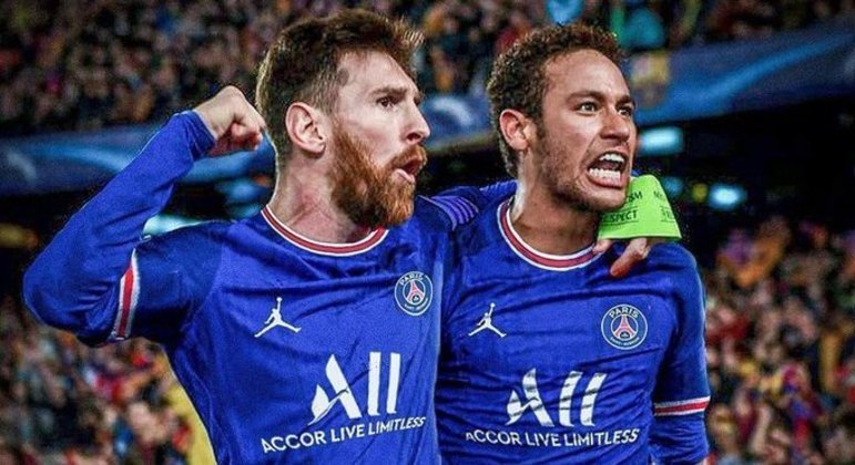 Montagem do Twitter do PSG, com Messi & Neymar