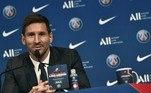 Depois de muita expectativa na chegada a Paris até a assinatura do contrato,Lionel Messi foi apresentado oficialmente pelo PSGnesta quarta-feira (11), no estádio Parque dos Príncipes