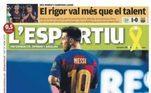 Algo parecido com 'ele disse chega' na capa do jornal catalão, com uma foto de Messi também de costas