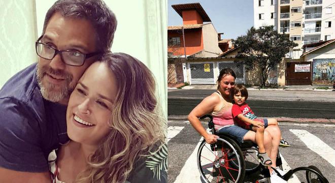Montagem de fotos com Tatiana Contri. Ela aparece abraçada ao marido em uma das imagens. Na outra, sentada em sua cadeira de rodas com o filho no colo em uma faixa de pedestre