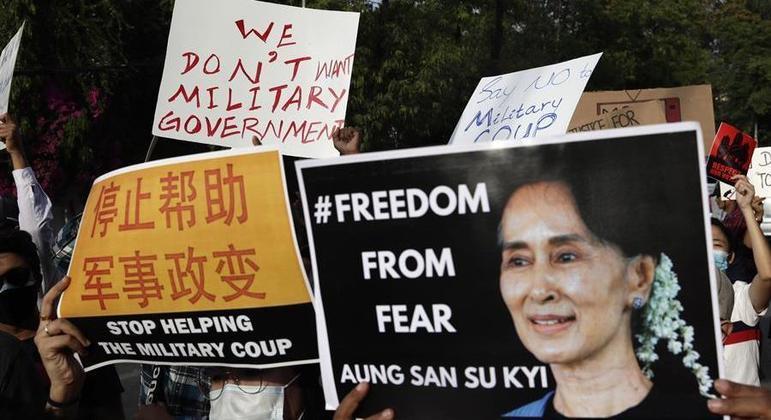 A ativista e política Aung san Su Kyi é uma das presas após o golpe militar em Mianmar