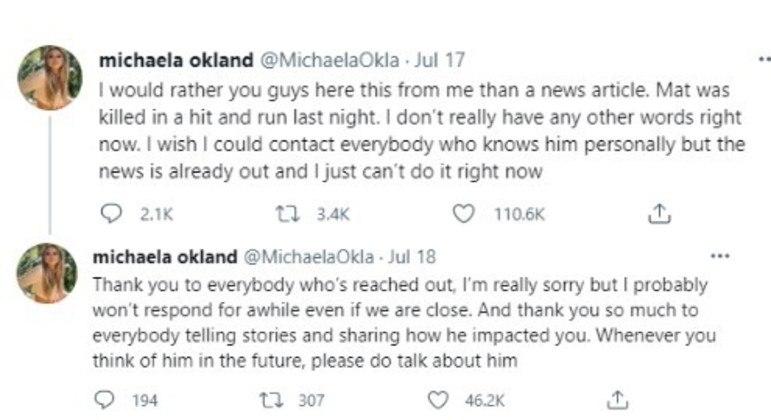 Michaela Okland explica a morte de Mat George