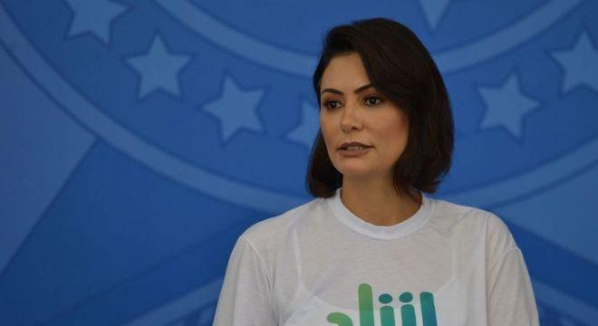 A presidente do Conselho do Pátria Voluntária, Michelle Bolsonaro, durante evento