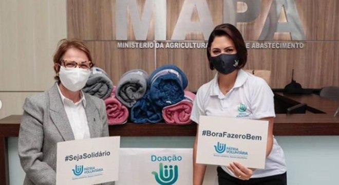 A ministra da Agricultura, Tereza Cristina, e a primeira-dama, Michelle Bolsonaro