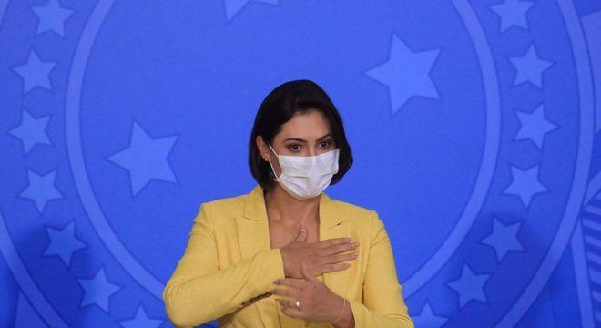 A primeira-dama, Michelle Bolsonaro, que preside o conselho do Pátria Voluntária