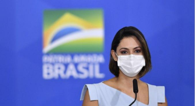 A primeira-dama, Michelle Bolsonaro, que foi citada em mensagem de Dominguetti