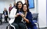 Michelle Bolsonaro, durante cerimônia do programa de contratação de deficientes pela Caixa