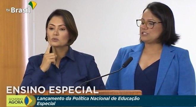 A primeira-dama Michelle Bolsonaro participa do lançamento da Política Nacional de Educação Especial