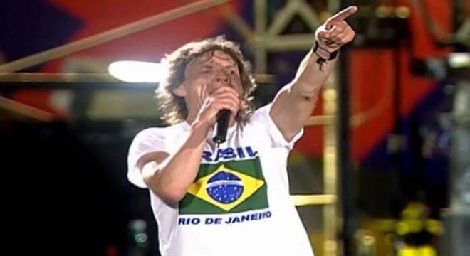 Mick Jagger com o Rolling Stones no Rio de Janeiro