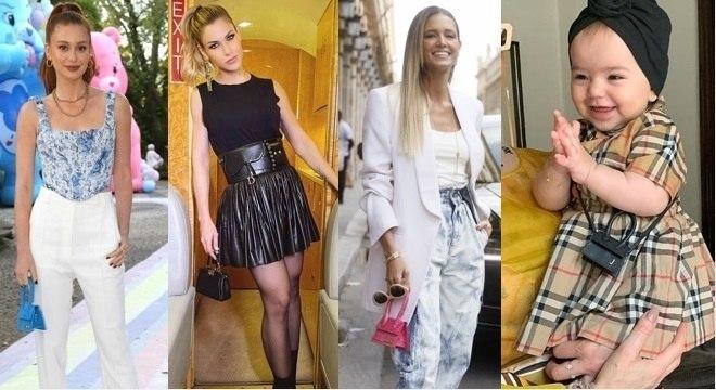 Algumas das famosas que apostaram na micro bag, entre elas Zoe Sato mostrando que já estilosa.