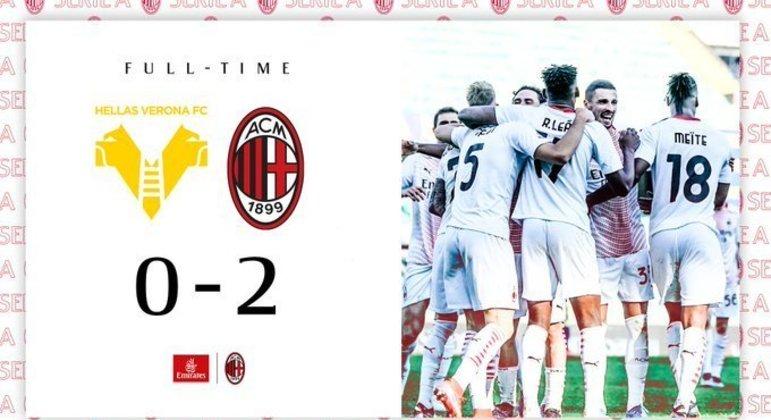 A capa do Twitter do Milan, apesar dos desfalques, um triunfo sossegado