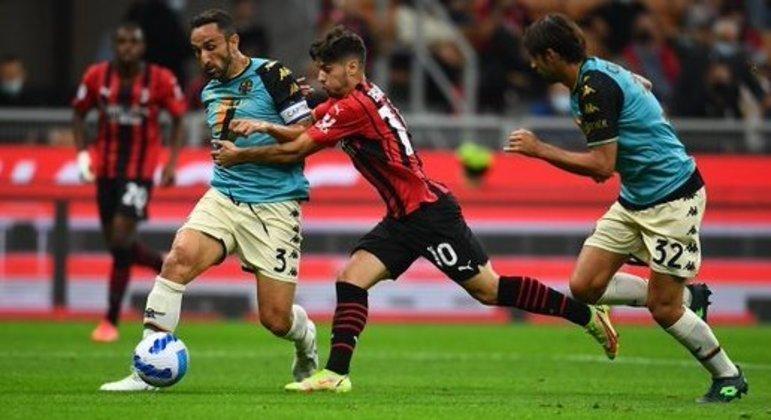 O momento do arremate de Brahim Díaz, 1 X 0 em favor do Milan