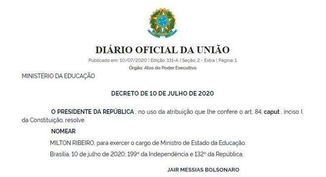 Edição extra do Diário Oficial da União trouxe a nomeação de Milton Ribeiro