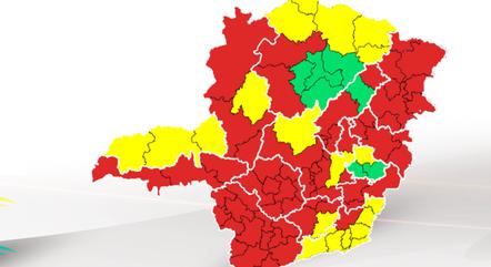 Mapa mostra a situação das regiões de Minas