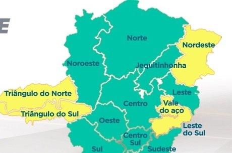 Nove das 14 regiões de MG estão na onda verde