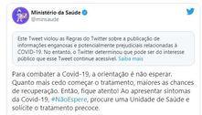 Twitter classifica post do Ministério da Saúde como 'enganoso'