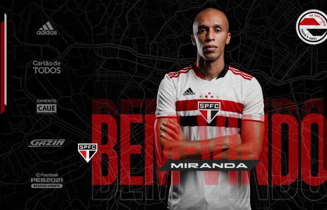 Miranda - Anunciado pelo clube na última semana, o zagueiro de 37 anos acertou seu retorno até 31/12/2022