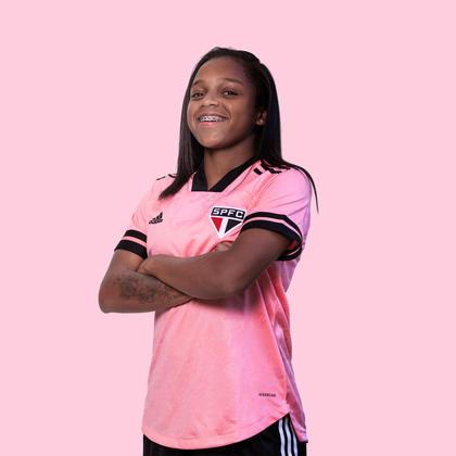 Miriam Cristina, jogadora do São Paulo, também posou com a camisa.