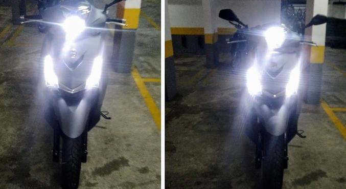 Farol e DRL em LED. A esquerda farol, baixo, a direita, luz alta